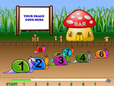 Add your image to the snail race night background !